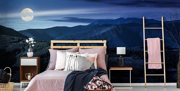 Papier peint panorama montagnes de nuit