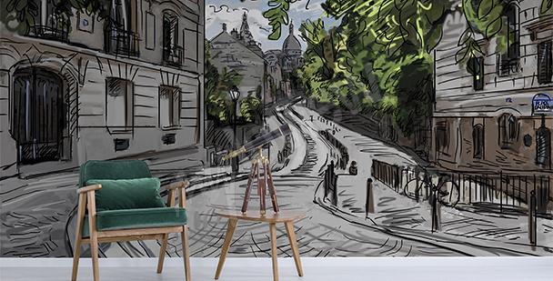 Papier peint ruelle et bicyclette