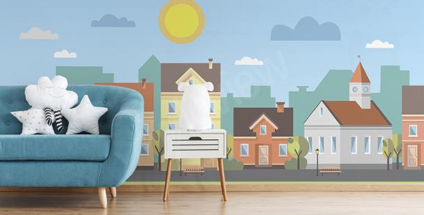 Papier peint panorama urbain enfant