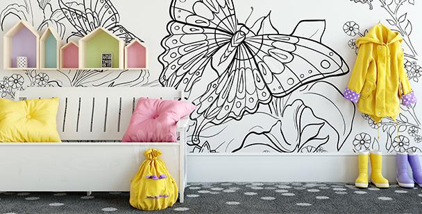 Papier peint papillon à colorier