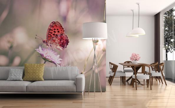 Papier peint papillon sur la fleur 3D