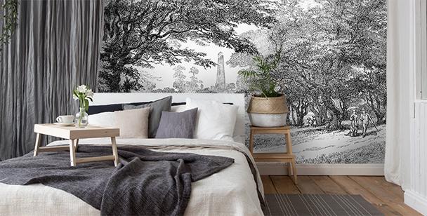 Papier peint parc en noir et blanc