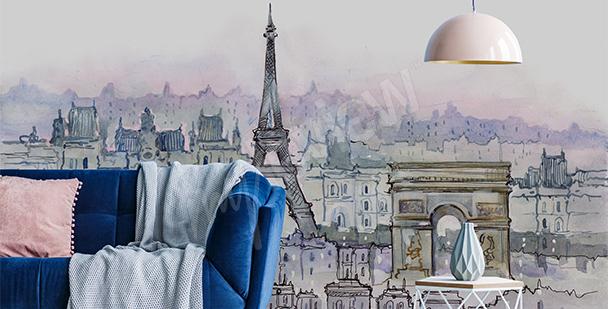 Papier peint Paris aquarelle