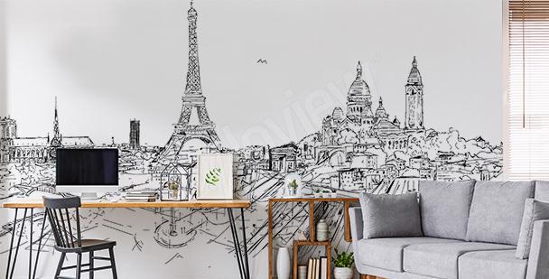 Papier peint Paris noir et blanc