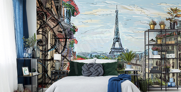 Papier peint Paris pour chambre à coucher