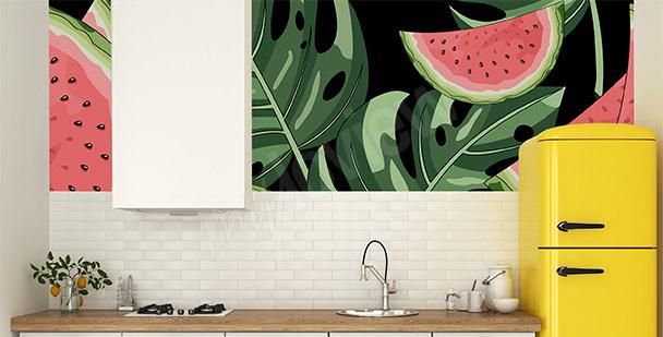Papier peint pastèques et feuilles