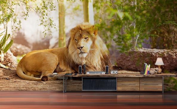 Papier peint paysage avec lion