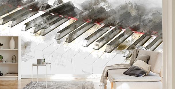 Papier peint piano à l'aquarelle
