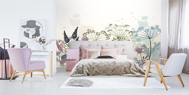 Papier peint pissenlits et fleurs