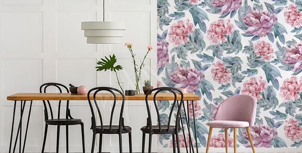 Papier peint pivoines salle à manger
