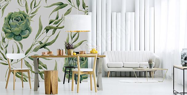 Papier peint plantes grasses vertes