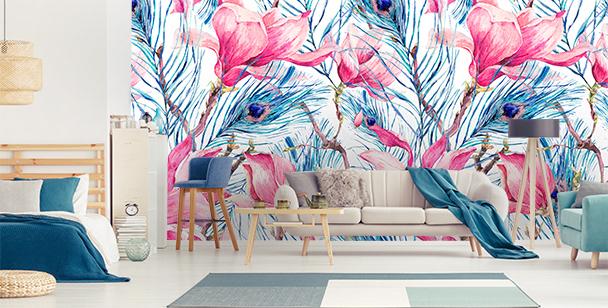 Papier peint plumes et magnolias