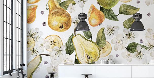 Papier peint poires pour salle à manger