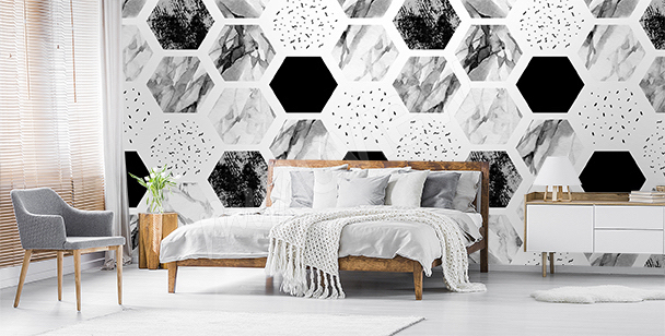 papiers peints noir et blanc mur aux dimensions. Black Bedroom Furniture Sets. Home Design Ideas