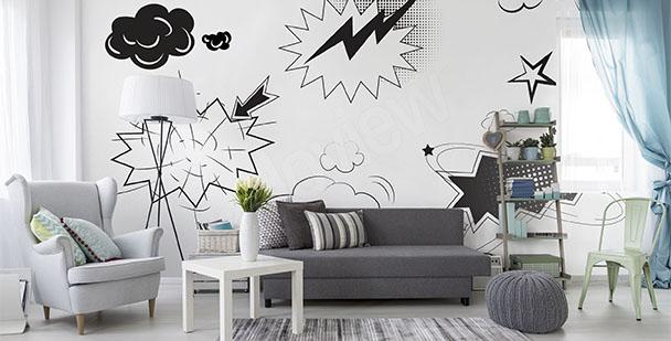 Papier peint pop art noir et blanc