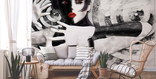 Papier peint portrait noir et blanc