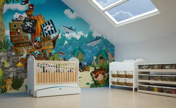 Papier peint pour chambres d'enfants pirates