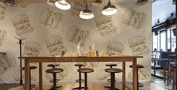 Papier peint pour restaurant hamburgers