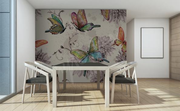 Papier peint pour salle à manger aquarelle