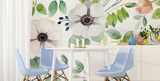 Papier peint pour salle à manger fleurs