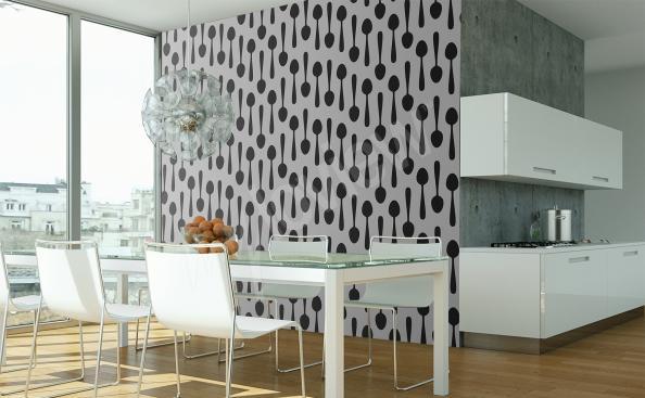 Papier peint pour salle à manger noir et blanc