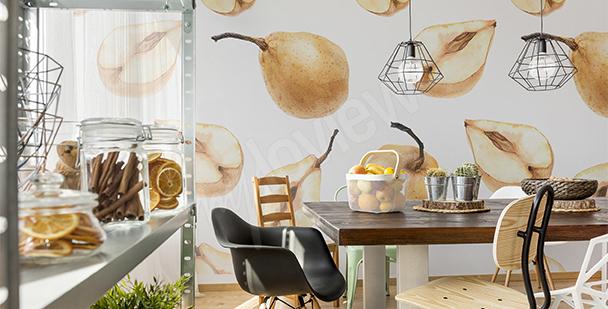Papier peint pour salle à manger poires
