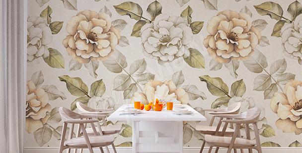 Papier peint pour salle à manger roses