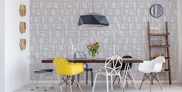 Papier peint pour salle à manger tonalités de gris