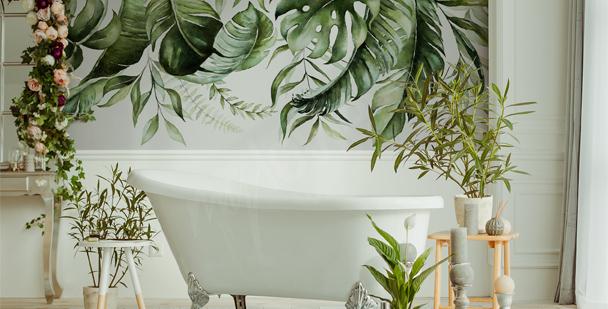 Papier peint pour salle de bains feuilles