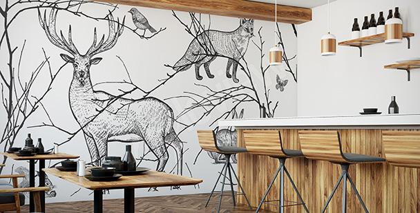Papier peint pour un restaurant animaux