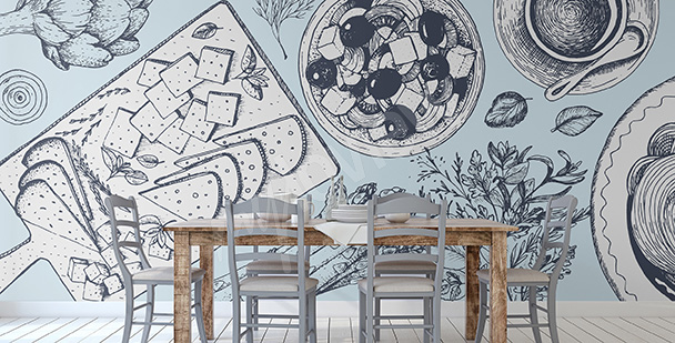 Papier peint pour un restaurant grec