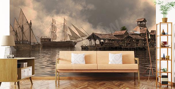 Papier peint profondeur: bateaux