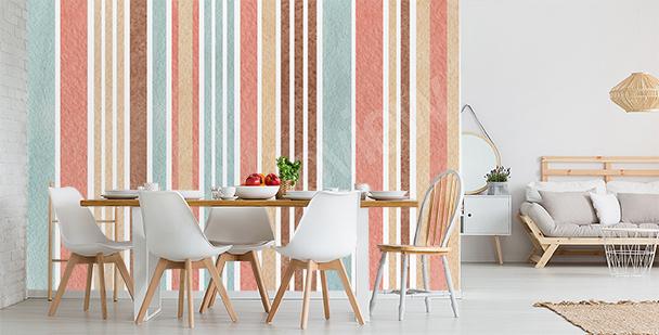 Papier peint rayures verticales en couleur