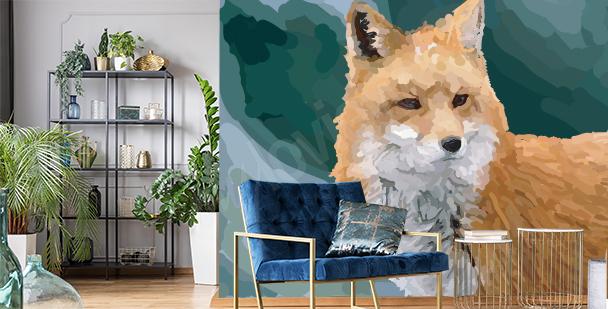 Papier peint renard aquarelle