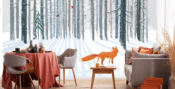 Papier peint renard dans la forêt