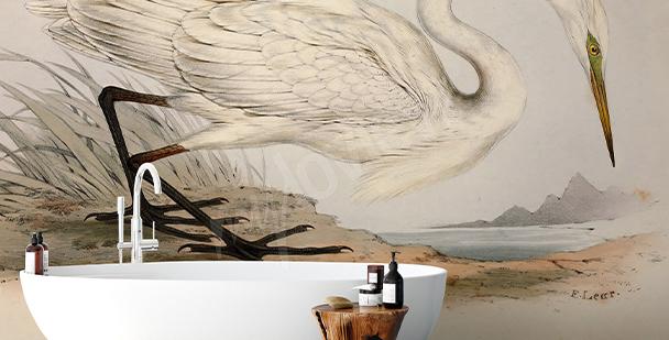 Papier peint rétro pour salle de bains