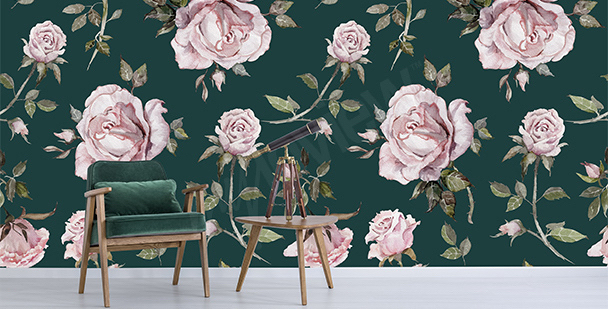 Papier peint roses chic