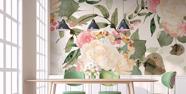 Papier peint roses vintage