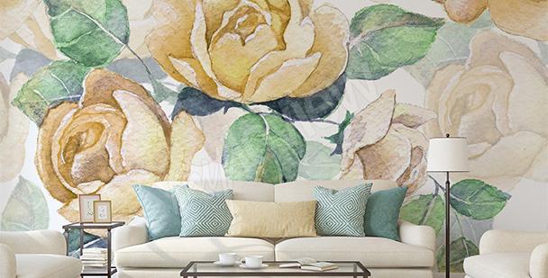 Papier peint roses jaunes