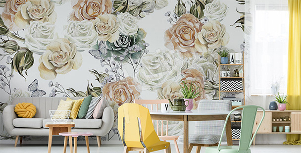 Papier peint pétales de rose blanche
