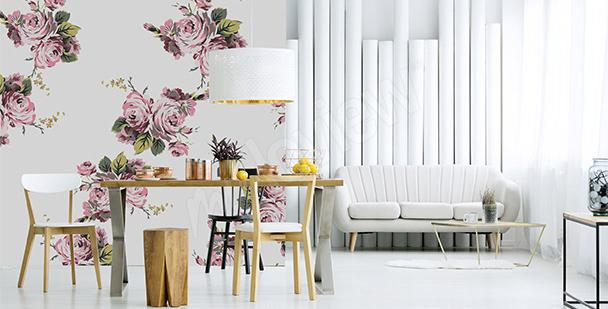 Papier peint roses pour salon