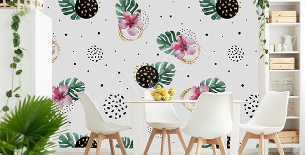Papier peint salle à manger exotique