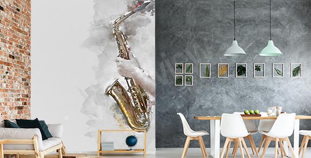 Papier peint saxophone à l'aquarelle