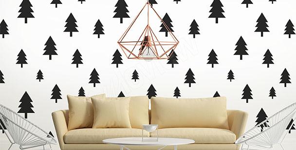 Papier peint style scandinave arbres