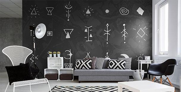 Papier peint symboles en noir et blanc