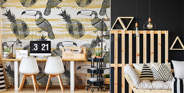 Papier peint toucans et ananas