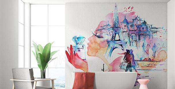 Papier peint Tour Eiffel aquarelle
