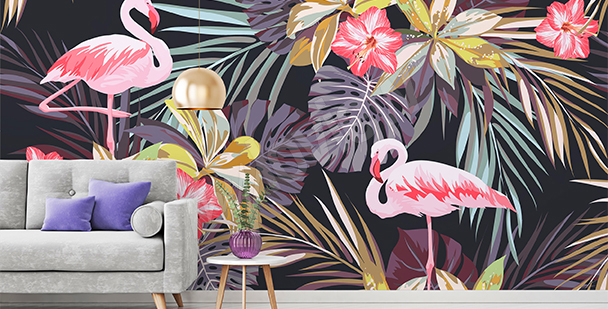 Papier peint tropical flamants roses