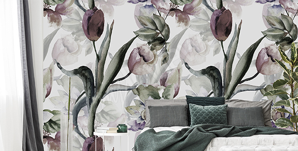 Papier peint panier de tulipes