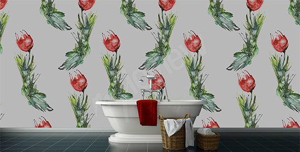 Papier peint tulipes salle de bains